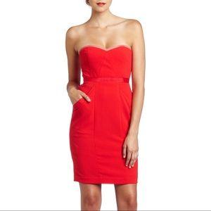 BCBGMAXAZRIA Daphine Strapless Mini Dress Sz 6 Red